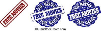 FREE MOVIES Grunge Stamp Seals