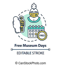 Free museum days concept icon. Admission discounts, inexpensive guided tours idea thin line illustration. Budget travel pastime. Vector isolated outline RGB color drawing. Editable stroke