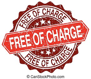 free of charge red round grunge stamp on white