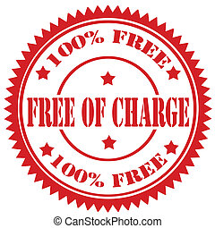 Free Of Charge-stamp - Red rubber stamp with text Free Of...