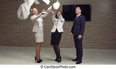 Free Of Work - Slow-motion of a cheerful business team...