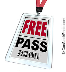 A badge and lanyard reading Free Pass