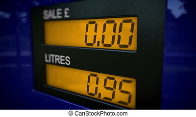 Free petrol concept. Gas pump display showing no costs for...