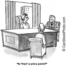 Free Price Point - Cartoon of business meeting,...