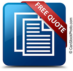 Free quote blue square button red ribbon in corner