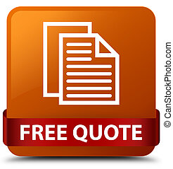 Free quote brown square button red ribbon in middle