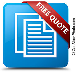 Free quote cyan blue square button red ribbon in corner