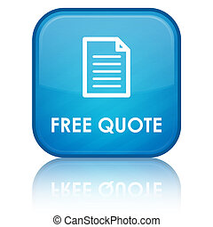free quote (page) icon on glossy blue square button