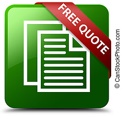 Free quote green square button red ribbon in corner