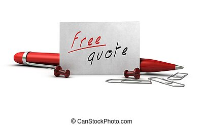 Free quote message handwritten onto a white business card, ...