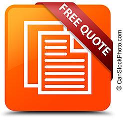 Free quote orange square button red ribbon in corner
