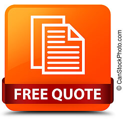 Free quote orange square button red ribbon in middle