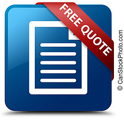 Free quote (page icon) blue square button red ribbon in corner