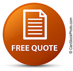 Free quote (page icon) brown round button