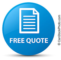 Free quote (page icon) cyan blue round button