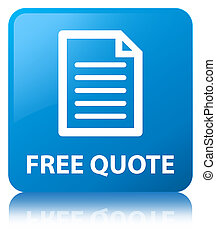 Free quote (page icon) cyan blue square button