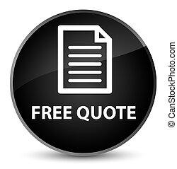 Free quote (page icon) elegant black round button