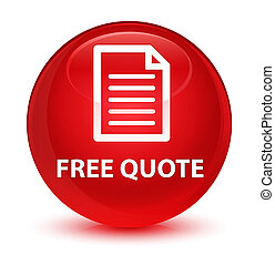 Free quote (page icon) glassy red round button
