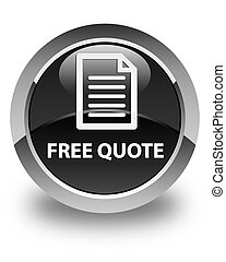 Free quote (page icon) glossy black round button