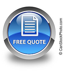 Free quote (page icon) glossy blue round button