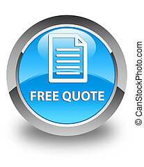 Free quote (page icon) glossy cyan blue round button