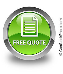 Free quote (page icon) glossy green round button
