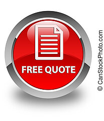 Free quote (page icon) glossy red round button