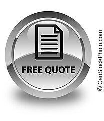 Free quote (page icon) glossy white round button