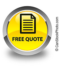 Free quote (page icon) glossy yellow round button