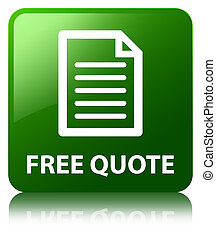 Free quote (page icon) green square button