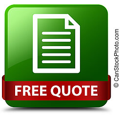 Free quote (page icon) green square button red ribbon in middle