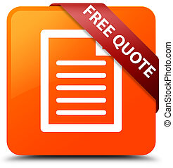 Free quote (page icon) orange square button red ribbon in corner