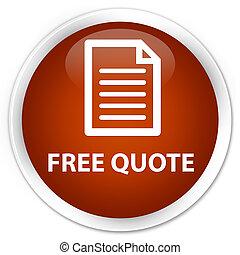 Free quote (page icon) premium brown round button