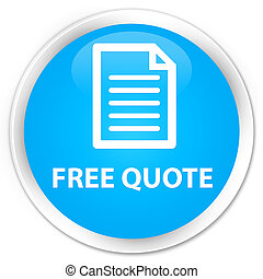 Free quote (page icon) premium cyan blue round button