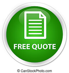 Free quote (page icon) premium green round button