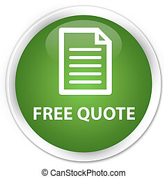 Free quote (page icon) premium soft green round button