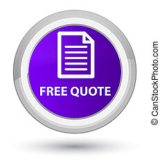 Free quote (page icon) prime purple round button