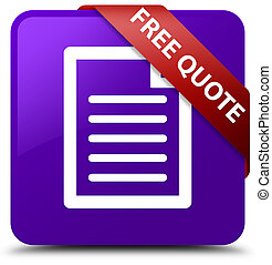 Free quote (page icon) purple square button red ribbon in corner
