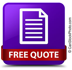 Free quote (page icon) purple square button red ribbon in middle