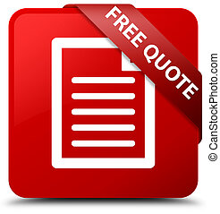 Free quote (page icon) red square button red ribbon in corner