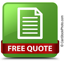 Free quote (page icon) soft green square button red ribbon in middle