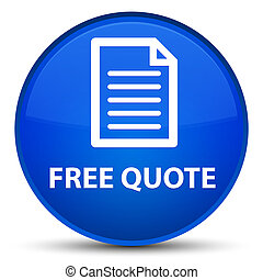 Free quote (page icon) special blue round button