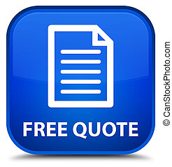 Free quote (page icon) special blue square button