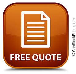 Free quote (page icon) special brown square button