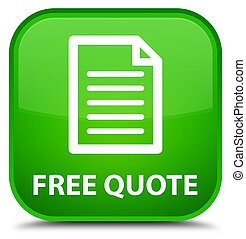 Free quote (page icon) special green square button