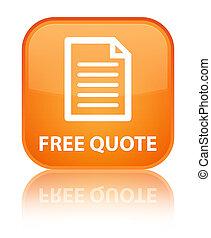 Free quote (page icon) special orange square button
