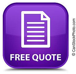 Free quote (page icon) special purple square button
