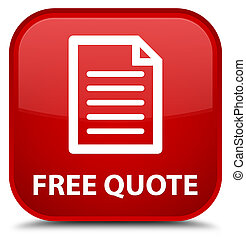 Free quote (page icon) special red square button
