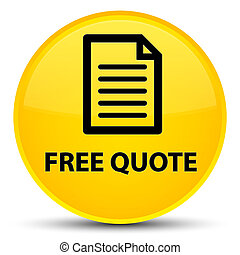 Free quote (page icon) special yellow round button