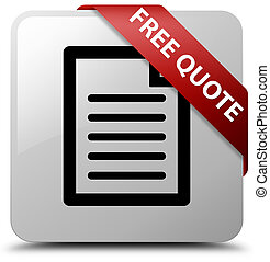 Free quote (page icon) white square button red ribbon in corner